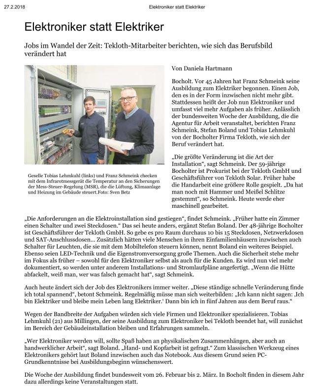 Elektroniker statt Elektriker - TEKLOTH GmbH